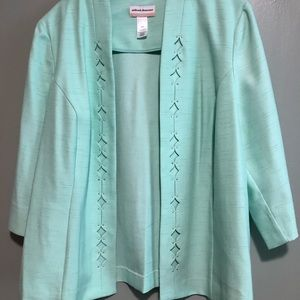 Alfred Dunner Jacket Mint Green 3/4 L Sleeves